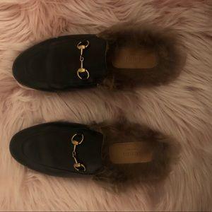 Black Gucci Mule Slides